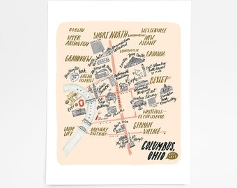Columbus, Ohio Map - Art Print - 8 x 10