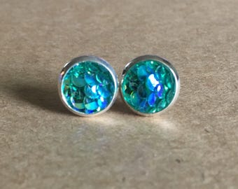 8mm Aqua Mermaid Scale Earrings, Green Mermaid Earrings, Dragon Scale Earrings