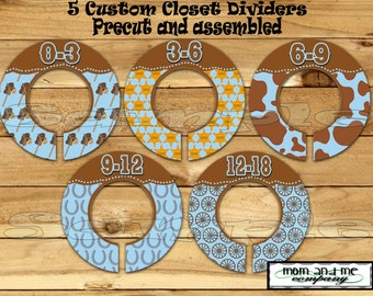 Cowboy Closet Dividers 5 PRECUT Assembled Baby Boy western Dividers Hangers Cow boy Size Dividers Rod dividers Infant Organizer Stickers set