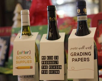 We Got Spirit{s} - Wine Bottle Gift Tag - Liquor Bottle Gift Tag - Bottle Necker Hang Tag - Christmas gift tag - Teacher gift tag