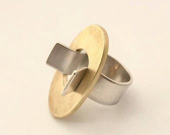 Brass and silver ring  maxi ring- 6.5 US or on demand- contemporary jewel