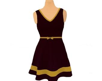 Black + Gold Skater Dress