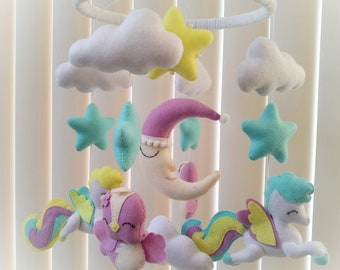 Baby mobile  Ready for shipping Pony baby mobile Crib mobile Nursery decor Felt mobile First gift for baby shower gift cloud moon mobile