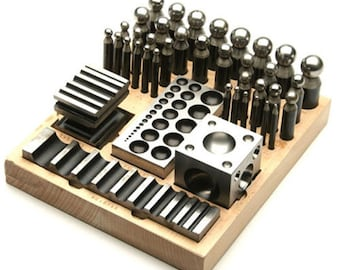 Deluxe 41 Piece Jewelry Dapping Doming Punch and Dapping Swage Block Set