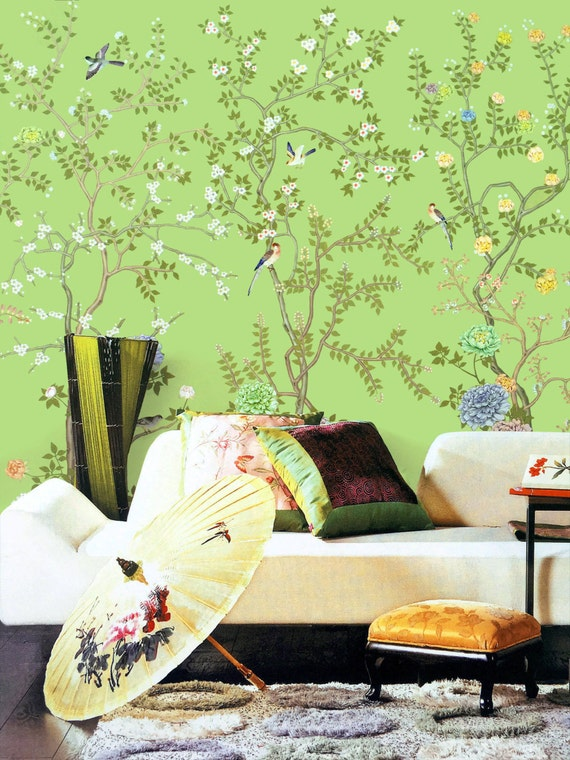 Lemon green chinoiserie wallpaper exotic birds trees flowering peony branch wall mural oriental japanese painting asian vintage wall art