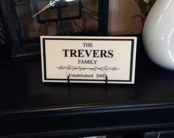"Customized Family White Corian Plaque, 9.5"" x 5"" Home Decor"