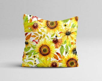 Fall Throw Pillow Cover - Sunflower Pillow Case - Rustic Watercolor Pillow Case - Fall Home Decor Cottage Decor - Autumn Watercolor Pillow