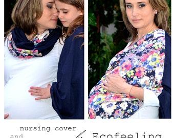 Flowers nursing cover scarf, Nursing cover, Nursing scarf, Breastfeeding cover, Nursing Shawl, Modern mom