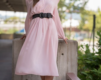 Vintage Pale Pink Chiffon Dress (Size Large)