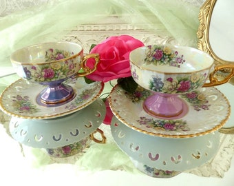 Vintage French Set of 2 Large Pearly Porcelain Tea Cups with Saucers, Purple Pink Golden Flower Design, Lace Design, Tea Time, Gift for Her