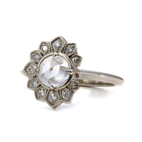 White Topaz Eclipse Engagement Ring with White Diamonds  - 14k Palladium White Gold