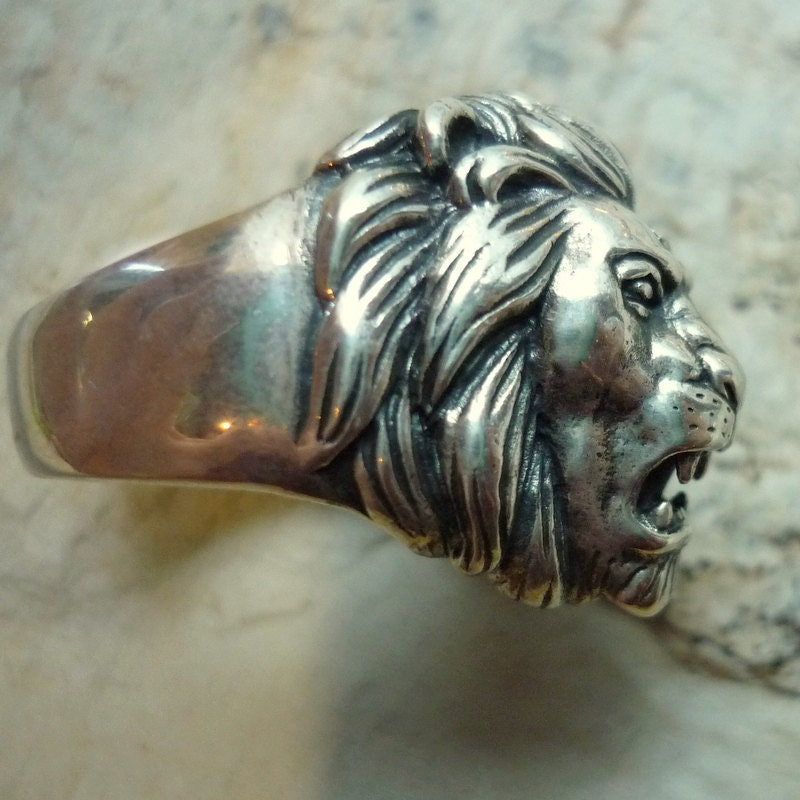 image lion itm ring plated vintage size mens head steel rings stainless gold