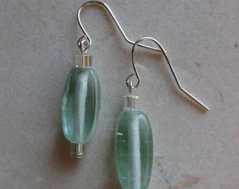 Rounded-rectangular light blue glass beaded earrings