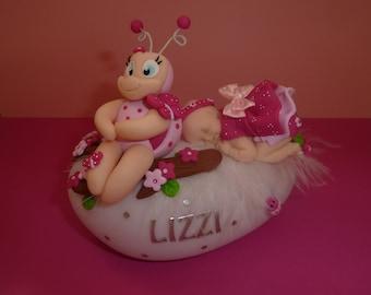 ON ORDER!  Beautiful baby fimo Ladybug Nightlight. Gift of birth, baptism, anniversary...