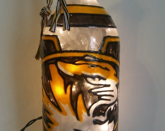 Mizzou Inspired Wine Bottle Lamp Hand Painted Lighted Stained Glass Look