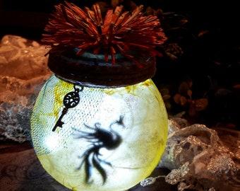 Phoenix Night Light Glass Jar Light with Phoenix Silhouette, Phoenix Light, Phoenix Lamp, Phoenix Gift, Fantasy Gift, Daughter gift