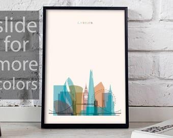 London art London print London decor London poster London Skyline England poster London wall art Gift poster