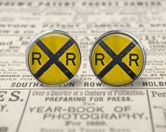 Vintage Railroad Crossing Stud Earrings