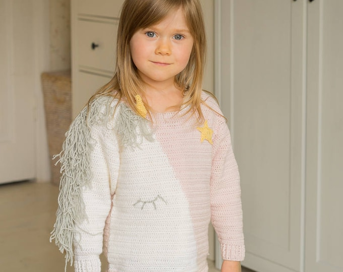 CROCHET PATTERN unicorn pullover Maya with mane, horn and a star  (1-12-year-old-sizes)