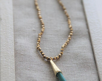 Beautiful Hand Knotted Gold Space Beads with Turquoise Spike Pendant Necklace