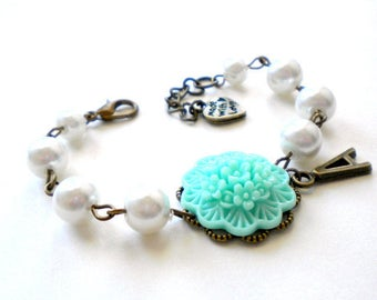 Personalized Baby Girl Gift Initial Bracelet Personalized Flower Girl Bracelet Turquoise Bracelet Wedding Gift For Junior Bridesmaid