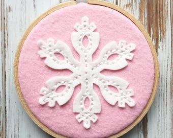 Pink Wool Felt Hoop Art - Snowflake -  Hand Embroidered