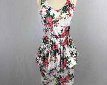 Vintage Peplum White Floral Dress