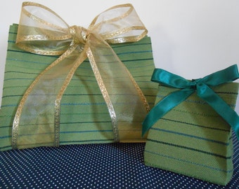 Fabric Gift Bag--->Fabric Box!  Reusable, eco-friendly, fabric gift wrap, storage bin, birthday, Mother's day, secondhand fabric, stripe