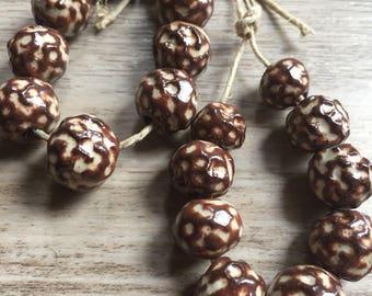Handbuilt Ceramic Beads - Large Hole Beads - Boho Gypsy Beads- DIY Jewelry Supplies Graduated Bead Strand -OOAK Jewelry Components