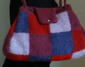 Hand bag felted wool, plaid red, pink, purple - toned Boiled Wool Handbag felted wool - tote bag