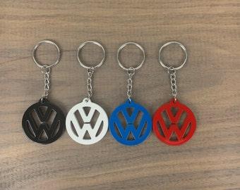 VW Volkswagen Emblem Keychain / Campervan Bus Beetle Dune Buggy Sand Rail / Custom Milled