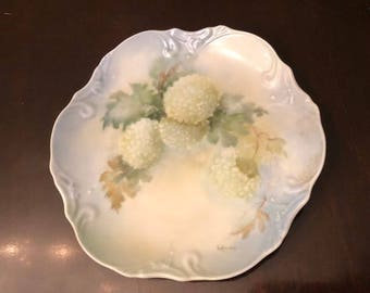 White Hydrangea Vintage Porcelain Wall Plate with Blue Tint