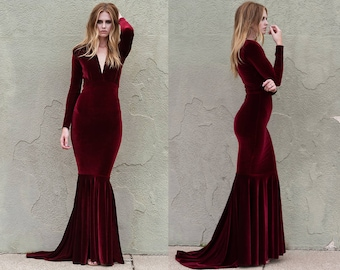 Wine Velvet Plunge Neck Mermaid Gown