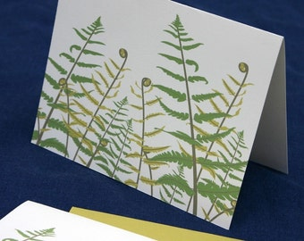 Fern Cards, Green Leaf Print Woodland Mothers Day Spring Illustration Stationary Set Stationery Set Nature