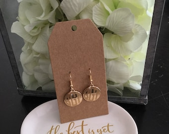 Personalized monogram gold or silver tone lever back disc earrings