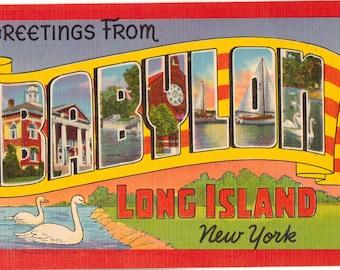 Linen Postcard, Greetings from Babylon, Long Island, New York, Large Letter