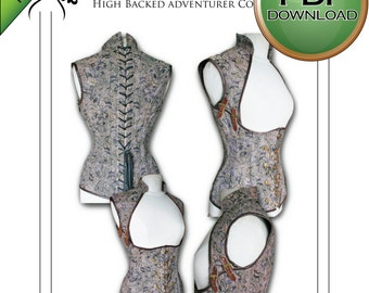 XL Steampunk Full Back Corset Sewing pattern. Instant PDF Download full size. Print at Home
