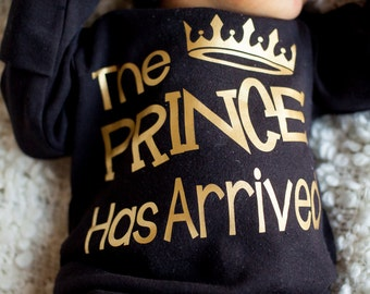 The Prince has Arrived bodysuit - coming home outfit - Baby Boy Gift birthday - baby shower gift baby clothes  Hat Sold Seperately