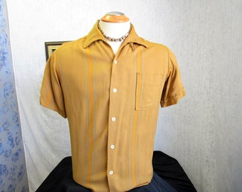 50s M Towncraft Penneys Loop & Button Men's Big Collar S/S Shirt Mustard Ochre Stripe