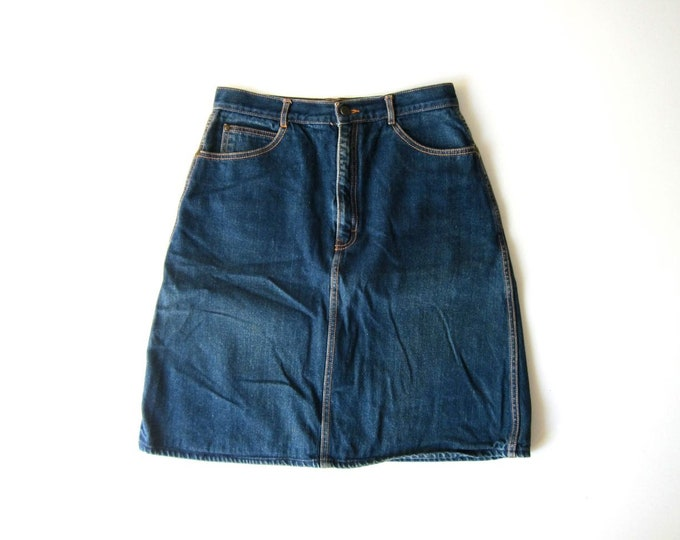 "80s Jean Skirt Vintage High Waist Denim Skirt Midi Pencil Skirt GITANO Chore Skirt Hipster Vintage Womens 29"" Waist Medium Large"
