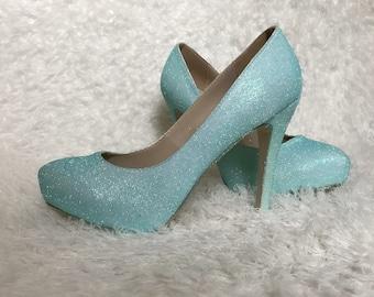 Tiffany blue heels etsy blue glitter high heel shoes with plarform wedding blue junglespirit Images