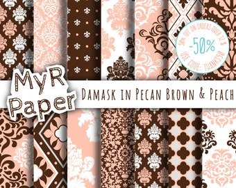 """Damask digital paper: """"PECAN BROWN & PEACH"""" digital paper pack with damask backgrounds and patterns for scrapbooking"""