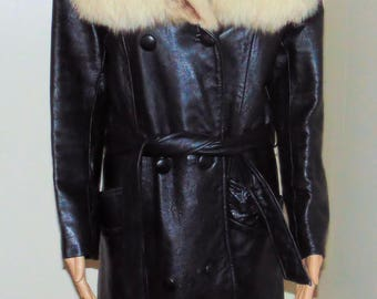 Vintage Black Leather Coat with real Fur Collar