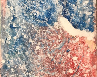 Origina Red and Blue 18x24 Abstract Acrylic Painting