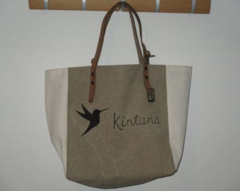 handmade linen and canvas tote bag