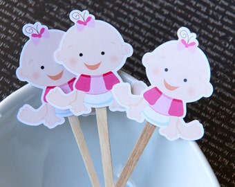 Baby Girl DIY Cupcake Topper Kit, Baby Girl Cupcake Toppers, Girl Baby Shower Toppers, Party Picks or Skewers