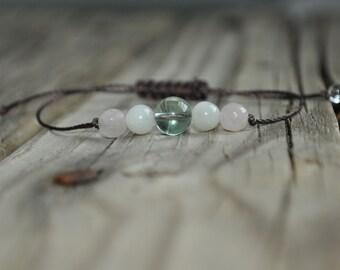 Fluorite Yoga Bracelet,  Moonstone Meditation Bracelet, Rose Quartz, Mediation, Stack Bracelet,