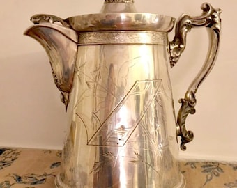 Lovely Antique North American 1880s Silverplate Water Pitcher with Engraved Monogram and Date
