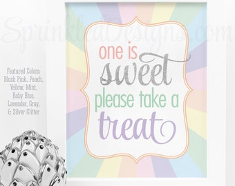 One is Sweet Please Take a Treat Party Favor Sign, Printable Rainbow Unicorn First 1st Birthday Party Decorations, Unicorn Party Printables