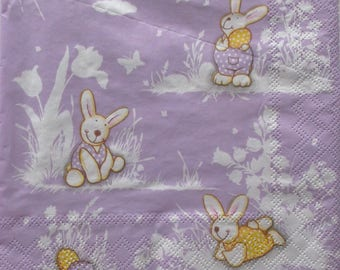 paper - patterns rabbits and Easter eggs - REF 3445 20 napkins